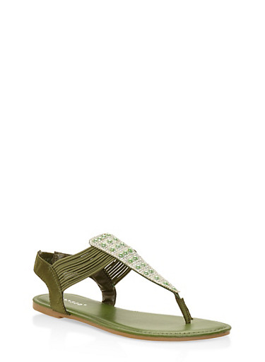 Faux Pearl Studded Thong Sandals,GREEN,large