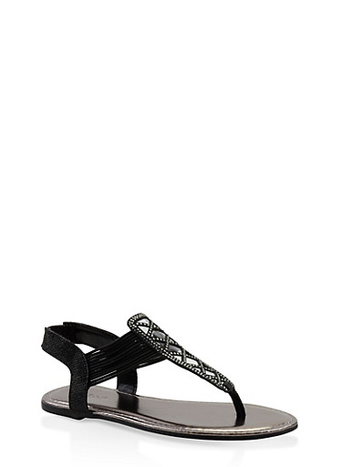 Rhinestone Studded Elastic Strap Thong Sandals,BLACK,large