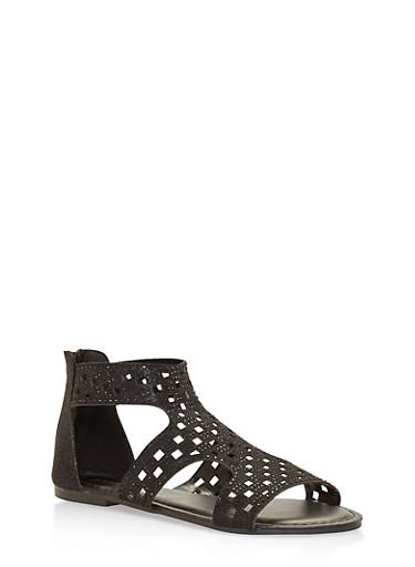 Rhinestone Studded Laser Cut Sandals,BLACK,large