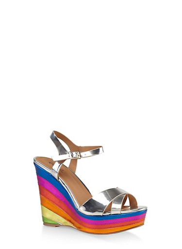 Criss Cross Strap Rainbow Wedge Sandals,SILVER,large