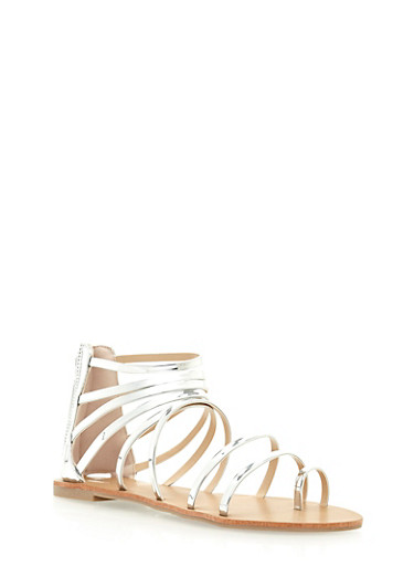 Strappy Metallic Patent Leather Sandals,SILVER,large