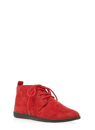 Brushed Suede Desert Boots,RED,large