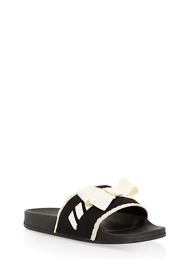 Knit Bow Slides,BLACK,large