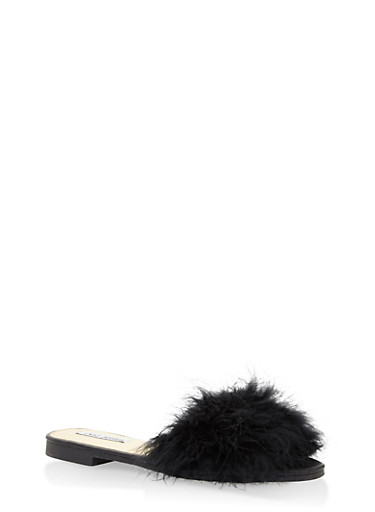 Authentic Feather Slides,BLACK,large