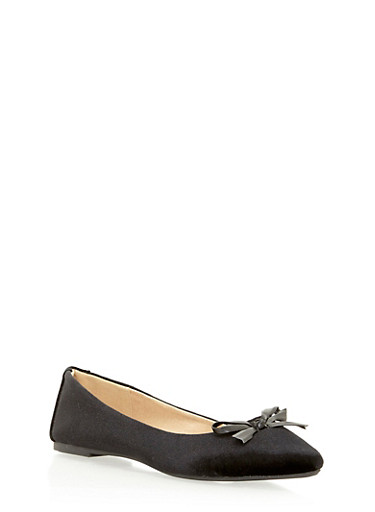 Pointed Velvet Skimmer Flats,BLACK,large