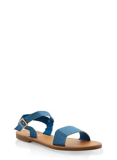 Ankle Strap Sandals,DENIM,large