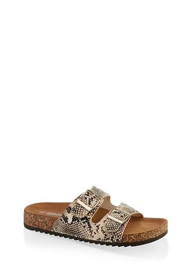 Two Buckle Footbed Sandals | 3110075827866,BEIGE,large