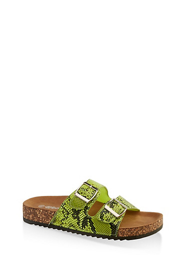 Two Buckle Footbed Sandals | 3110075827866,NEON LIME,large