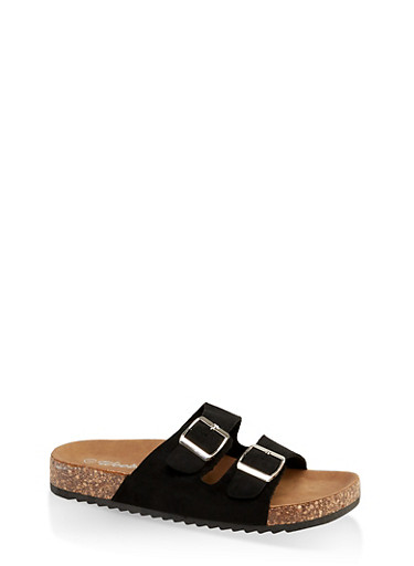 Two Buckle Footbed Sandals | 3110075827866,BLACK SUEDE,large