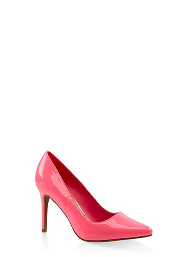 Pointed Mid Heel Pumps,PINK,large