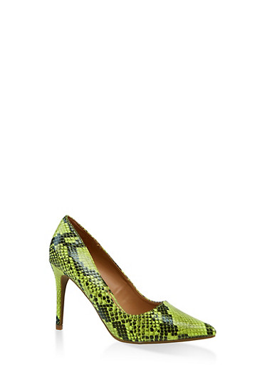 Pointed Mid Heel Pumps,NEON YELLOW,large