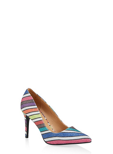 Pointed Mid Heel Pumps,MULTI COLOR,large