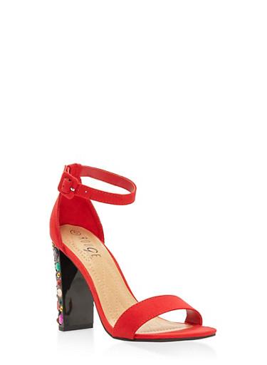Rhinestone High Heel Sandals,RED,large