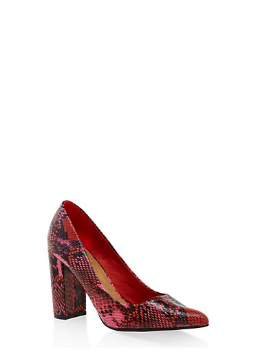 Pointed Toe Block Heel Pumps,RED,large