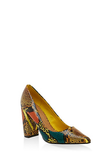 Pointed Toe Block Heel Pumps,YELLOW,large