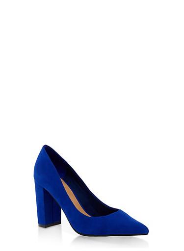 Pointed Toe Block Heel Pumps,BLUE,large