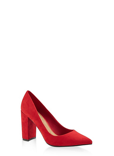 Pointed Toe Block Heel Pumps,RED S,large