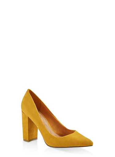 Pointed Toe Block Heel Pumps,YELLOW S,large