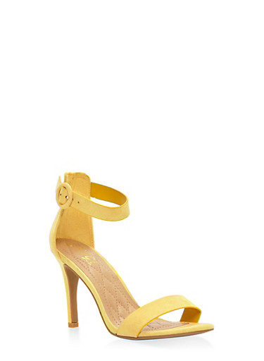 High Heel Ankle Strap Sandals,YELLOW,large