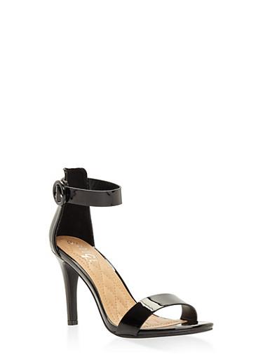 High Heel Ankle Strap Sandals - BLACK PATENT - 3111004062529
