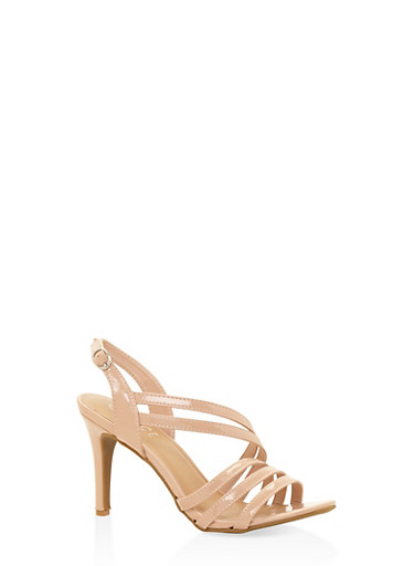 Cross Strap Mid Heel Sandals,NUDE,large