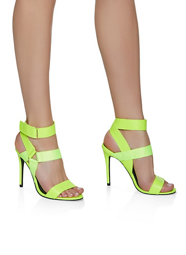Velcro Ankle Strap High Heel Sandals,NEON YELLOW,large