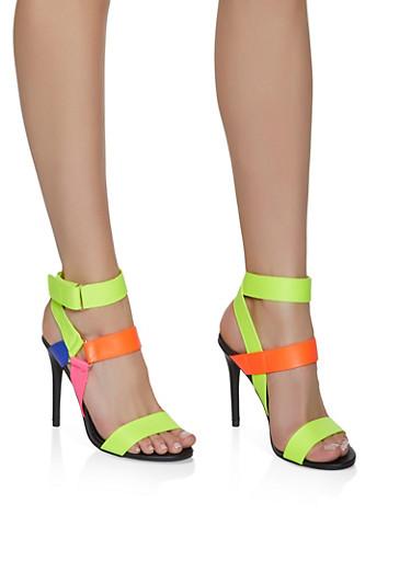 Velcro Ankle Strap High Heel Sandals,MULTI COLOR,large