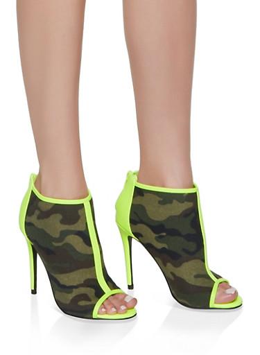 Contrast Trim Peep Toe High Heel Booties,GREEN,large