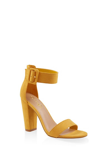 Ankle Strap Buckle High Heel Sandals,YELLOW,large