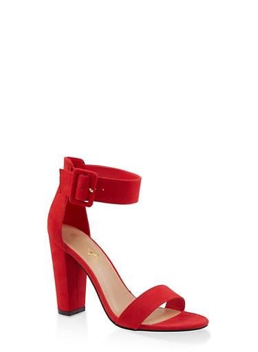 Ankle Strap Buckle High Heel Sandals,RED S,large
