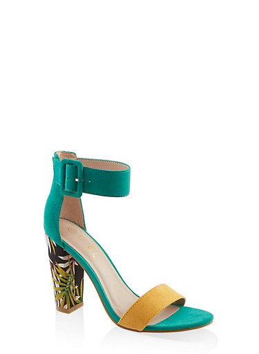 Buckle Ankle Strap Block Heel Sandals | 3111004063739,GREEN,large