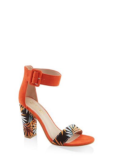 Buckle Ankle Strap Block Heel Sandals | 3111004063739,ORANGE,large