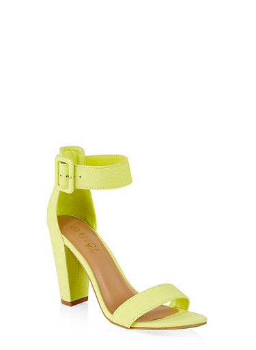 Buckle Ankle Strap Block Heel Sandals | 3111004063739,NEON YELLOW,large