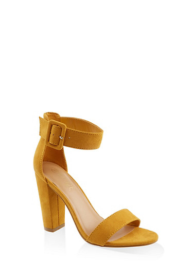 Buckle Ankle Strap Block Heel Sandals | 3111004063739,YELLOW S,large