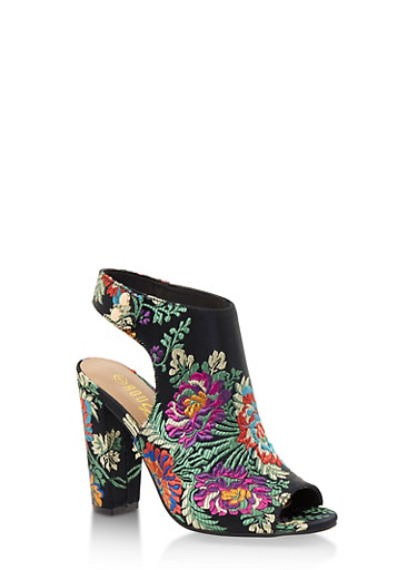 Open Toe Side Snap Printed High Heel Sandals,BLACK FABRIC,large