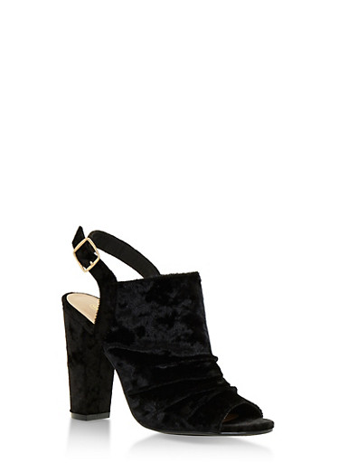 Crushed Velvet Open Toe Sandals with Chunky Heels,BLACK VELVET,large