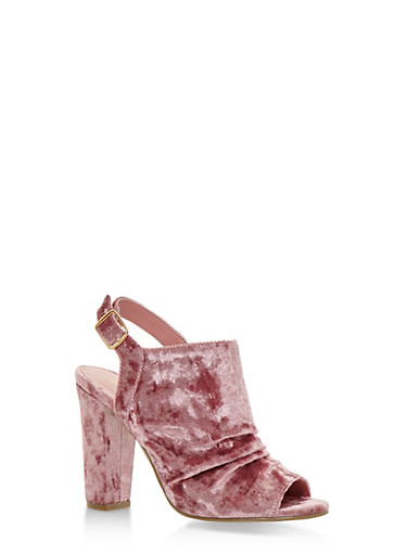 Crushed Velvet Open Toe Sandals with Chunky Heels,MAUVE VELVET,large