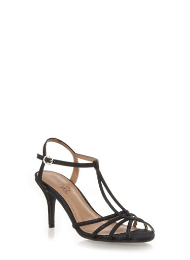 Strappy Glitter Open Toe Heels with Ankle Strap,BLACK,large