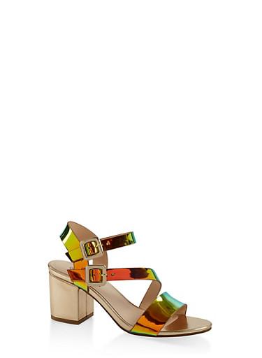 Asymmetrical Strap Block Heel Sandals,GREEN,large
