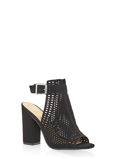 Laser Cut High Heel Sandals,BLACK,large