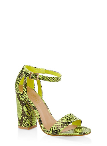 Ankle Strap Chunky High Heel Sandals,YELLOW,large