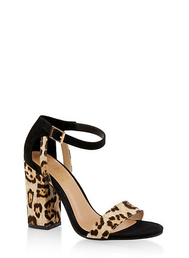 Ankle Strap Chunky High Heel Sandals,LEOPARD PRINT,large