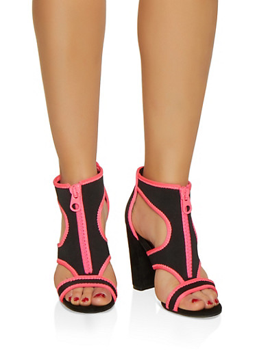 Neoprene Cut Out Block Heel Sandals,NEON PINK,large