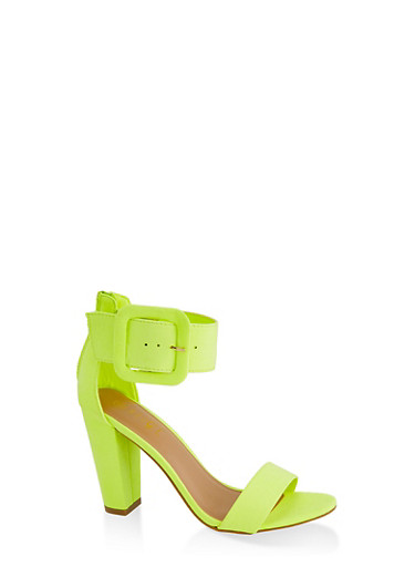 Faux Suede Ankle Strap Block Heel Sandals,NEON YELLOW,large