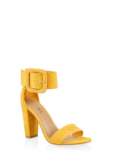 Faux Suede Ankle Strap Block Heel Sandals,YELLOW S,large
