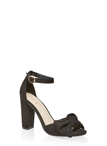Bow High Heel Sandals,BLACK SUEDE,large