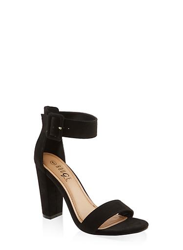 Buckle Ankle Strap High Heel Sandals | 3111004066273,BLACK SUEDE,large