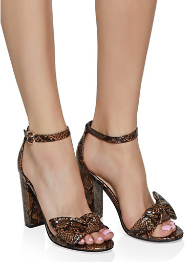 Bow Strap High Heel Sandals,BROWN,large