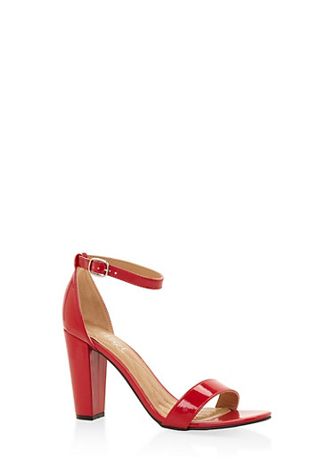 Ankle Strap High Heel Sandals,RED,large