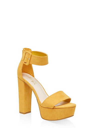 One Band Ankle Strap Platform Sandals,YELLOW S,large